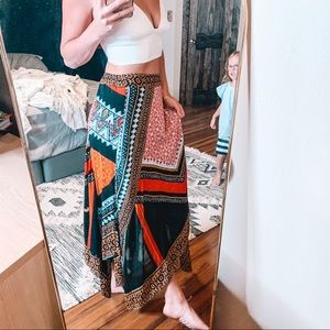 Free People Patterned Asymmetrical Midi Skirt
